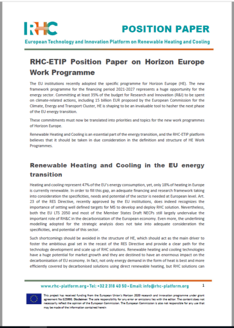 RHC-ETIP Position Paper on Horizon Europe Work Programme