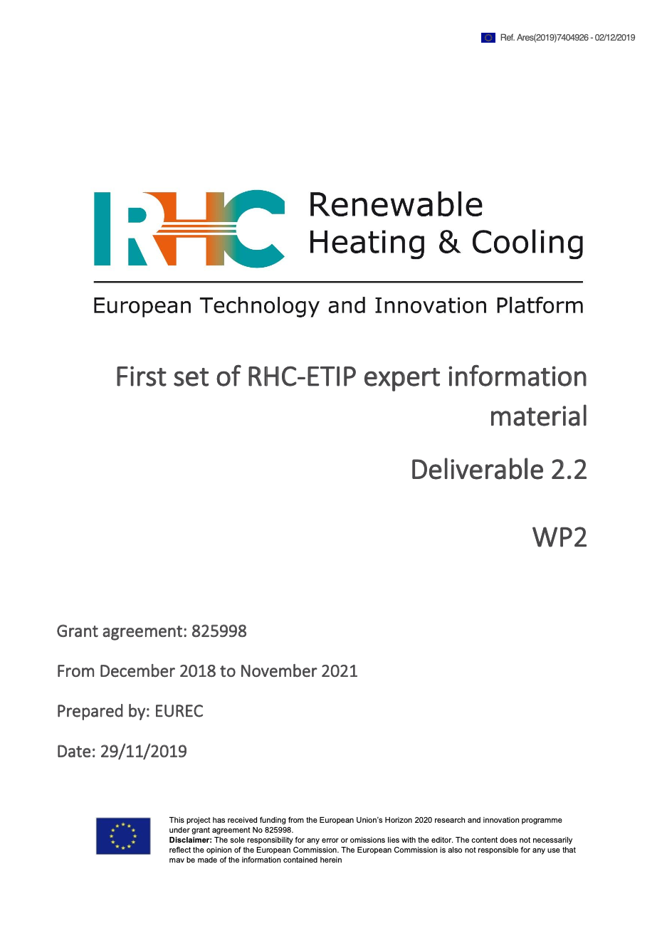 D2.2 First set of RHC-ETIP expert information material