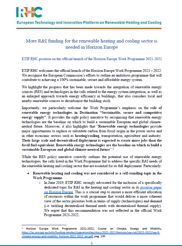 RHC ETIP Position Paper on the Launch of Horizon Europe